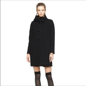 Kate spade Black bow collared wool coat sz xs
